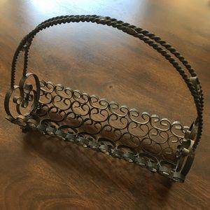 Antique Metal Scrollwork Basket